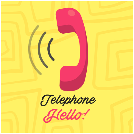Telephone Hello Phone Receiver Yellow Background Vector Image