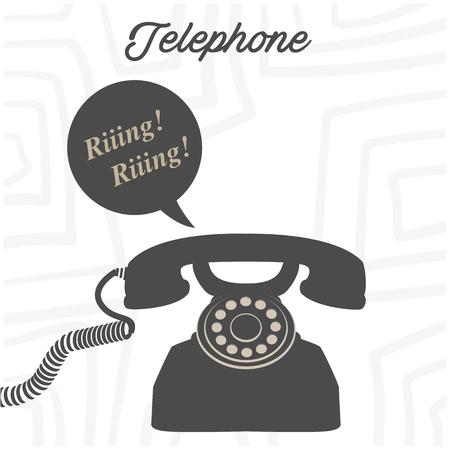 Telephone Retro Phone Ringing White Background Vector Image Illustration
