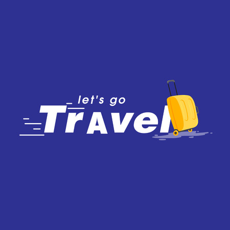 Let's Go Travel Baggage Blue Background Vector Image