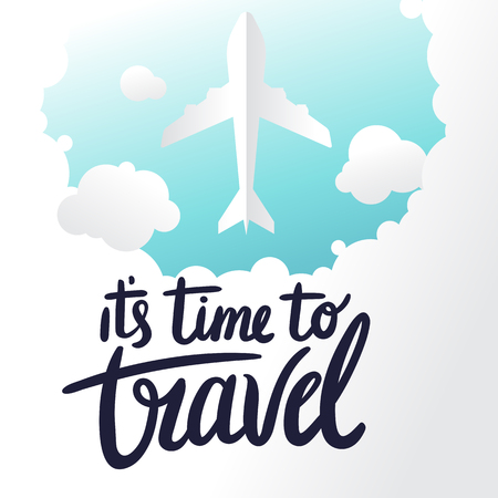 Its Time To Travel Plane Clound Blue Sky Background Vector Image