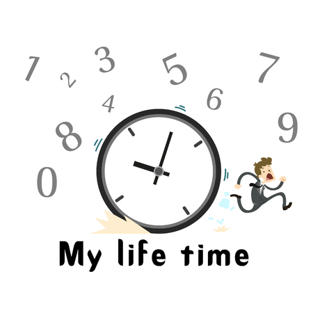 My Life Time Clock Man Running Background Vector Image