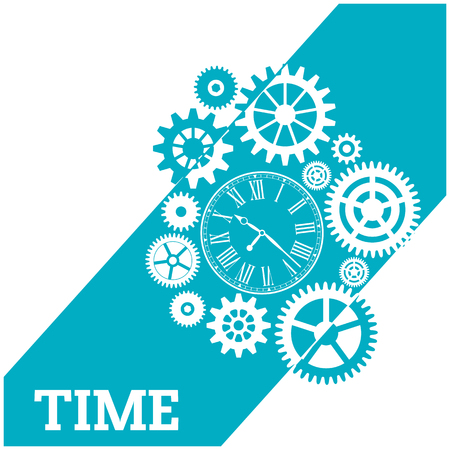 Time Watch Gears Cog Blue Background Vector Image