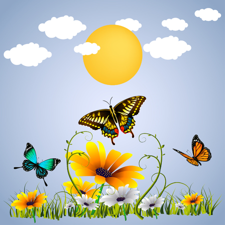 Butterfly, Sunset And Flower template vector illustration Illustration