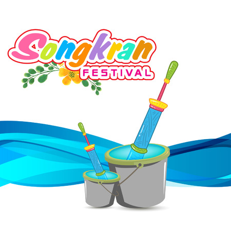 Songkran Festival In Thailand Bucket Of Water And Water Gun Background Vector Image Illustration