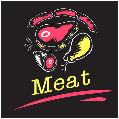 Meat Pork Beef Chicken Sausage Background Vector Image