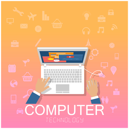 Computer Technology Hand Working On Laptop Background Vector Image