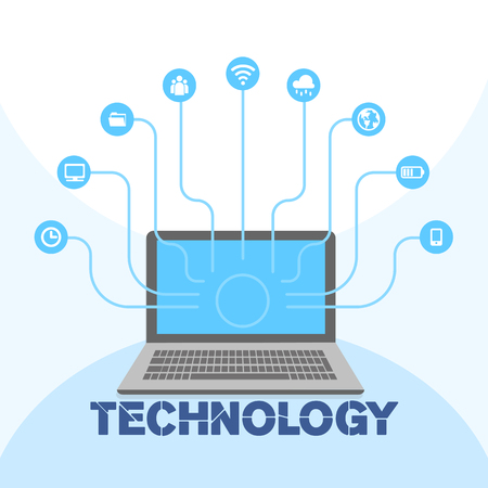 Technology Social Icon Media Laptop Background Vector Image.