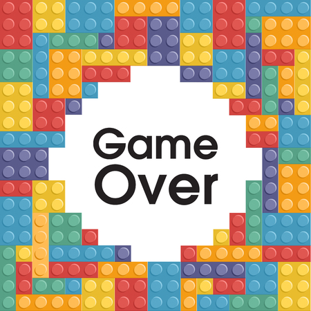 Game Over Colorful Lego Background Vector Image