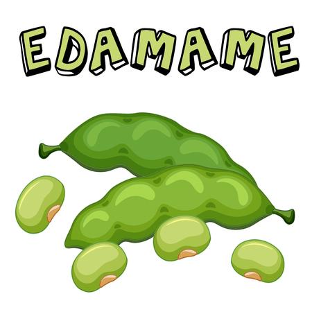 Vegetable Edamame Beans White Background Vector Image Illustration