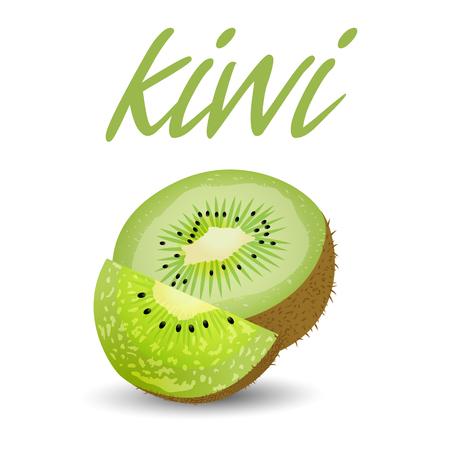 Fruit Kiwi White Background Vector Image Illustration