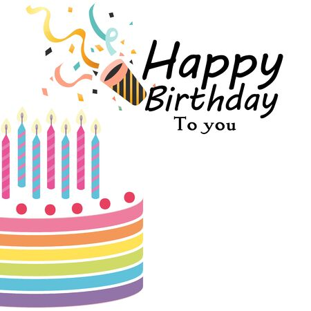 Happy Birthday To You with Cake and Horn Vector Image