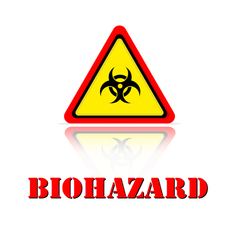 Yellow Warning Biohazard Icon Background Vector Image