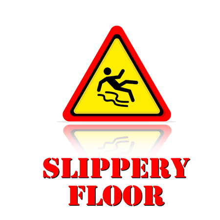 Yellow Warning Slippery Floor Icon Background Vector Image