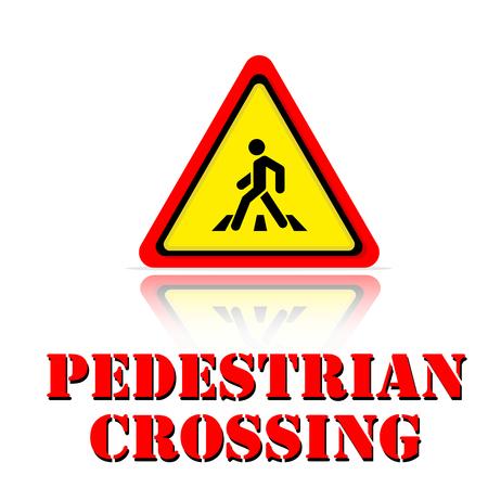 Yellow Warning Pedestrian Crossing Icon Background Vector Image Çizim