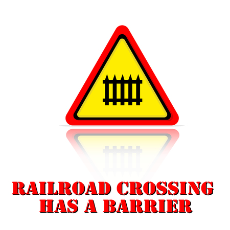 Yellow Warning Railroad Crossing Has A Barrier Icon Background Vector Image