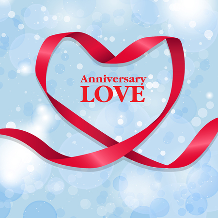 Anniversary LOVE poser with a Ribbon Heart on Blue Background