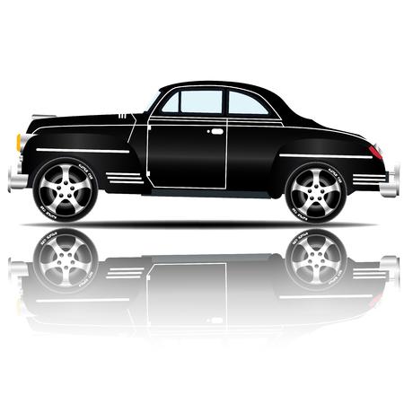 Retro Car Black Color vector illustration