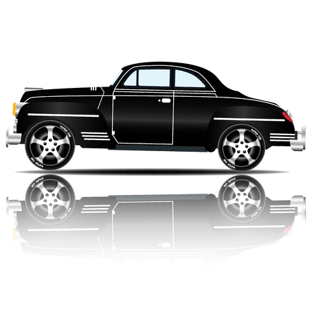 Retro Car Black Color vector illustration