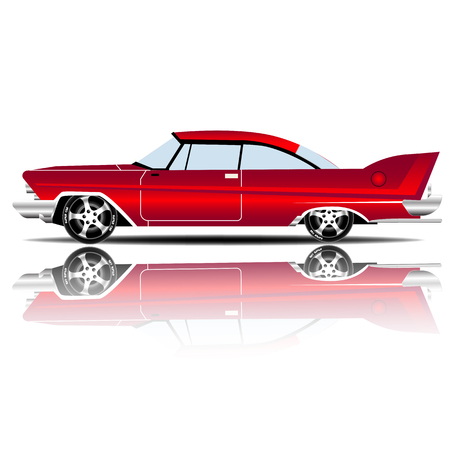 Retro Car Red Color vector illustration