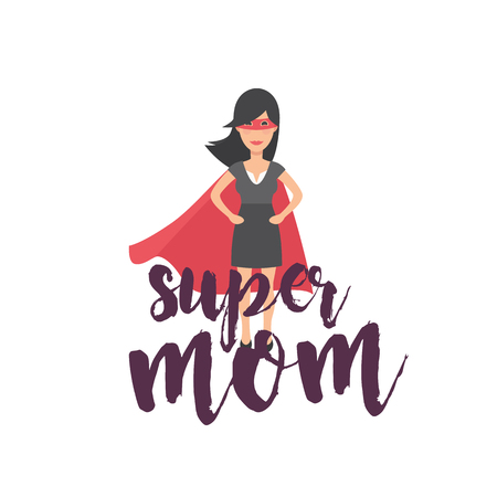 Super Mom Super Woman Background Vector Image illustration.