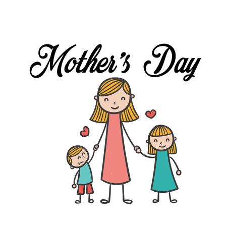 Mother's Day Mom Daughter And Son Background Vector Image. Illustration