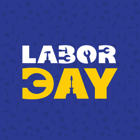 Labor Day Wrench Blue Color Background Vector Image