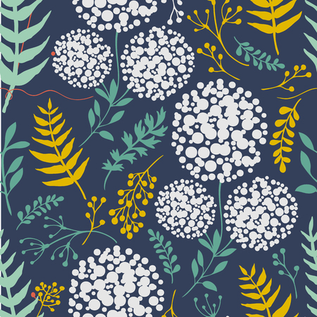 Dandelion Pattern With Plants Herbs Vector Image