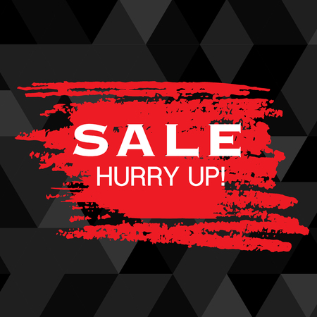 Sale Hurry Up Red Paint Black Background Vector Image