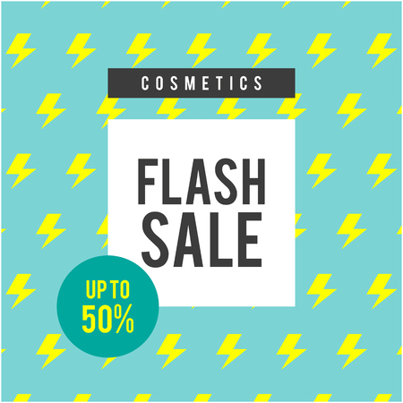 Cosmetics Flash Sale Up To 50% Blue Background Vector Image
