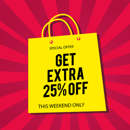 Get Extra 25% Off Yellow Bag Red Background Vector Image