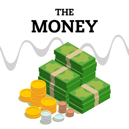 The Money Coin Gold Coin Banknotes Background Vector Image