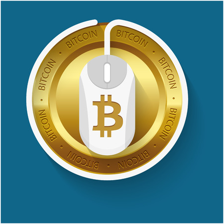 Golden Bitcoin White Mouse Blue Background Vector Image Illustration