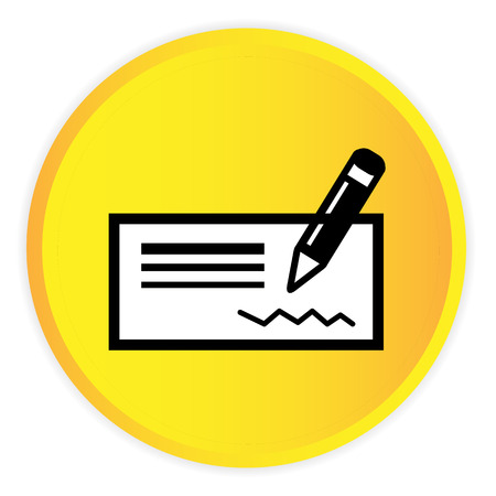 Money Cheque Icon Yellow Circle Frame Background Vector Image Illustration