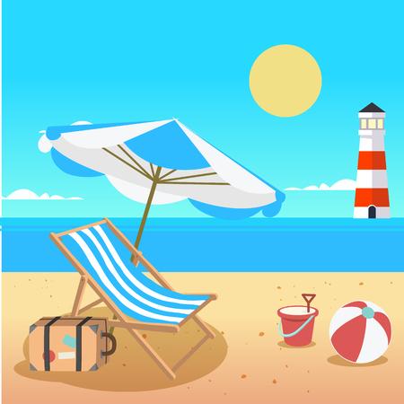 Summer Beach Umbrella Chair Beach Ball Lighthouse Background Vector Image Illustration