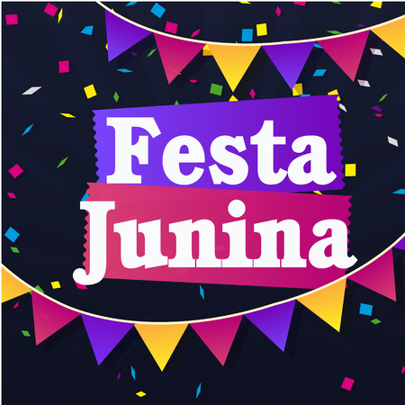 Festa Junina Colorful Ribbon Flags Black Background Vector Image