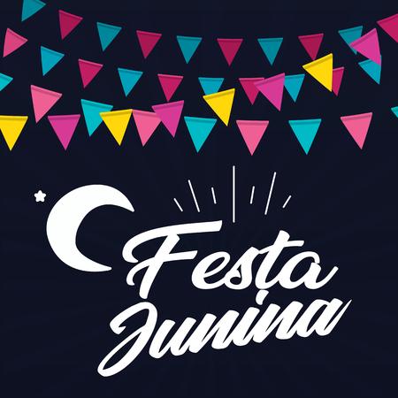 Festa Junina Colorful Flag Moon Black Background Vector Image