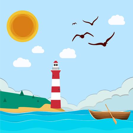 Sea Lighthouse Boat Sun Blue Sky Background Vector Image 向量圖像