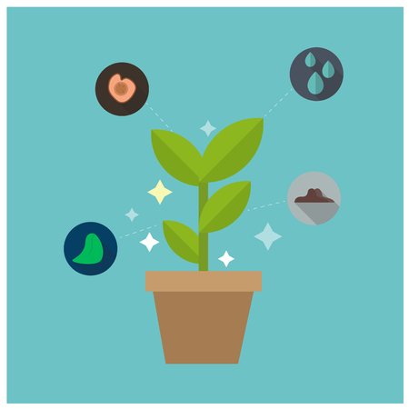 Science Glowing Plant Concept Blue Background Vector Image Illustration