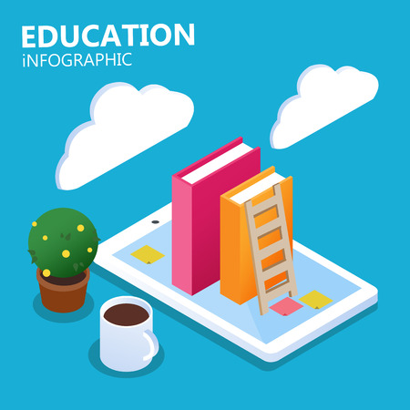 Education Infographic Online Concept Books Smartphone Coffee Background Vector Image Illustration
