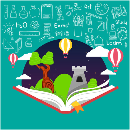 Education Open Book Knowledge Icons Background Vector Image Illustration