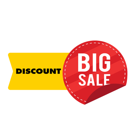 Discount Big Sale Yellow Red Ribbon Tag Vector Image