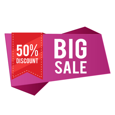50% Discount Big Sale Purple Banner Red Ribbon Vector Image Illustration