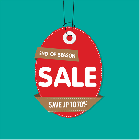 Red Tag Sale End Of Season Sale Save Up To 70% Vector Image Illustration