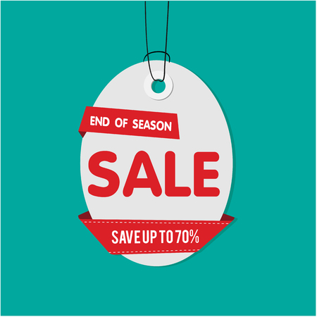 Gray Tag Sale End Of Season Sale Save Up To 70% Vector Image