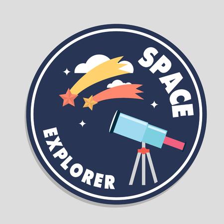 Space Explorer Telescope Shooting Star Circle Frame Background Vector Image Illustration