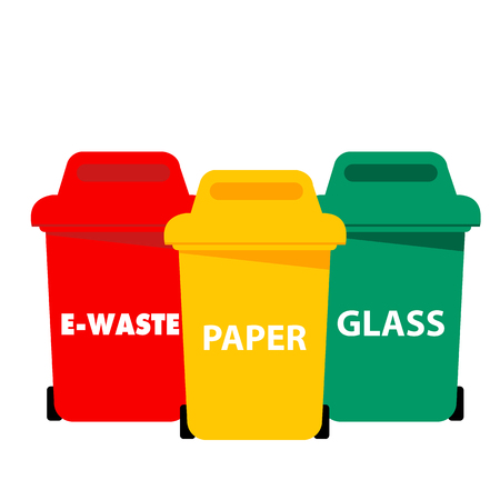 Different Color Recycle Bin E-waste Paper Glass Vector Image 스톡 콘텐츠 - 105480991