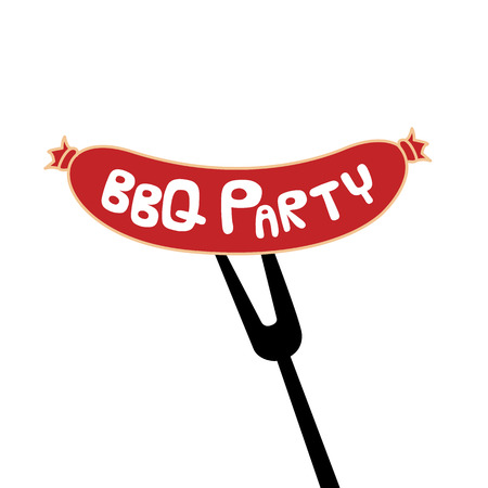 BBQ Party Sausage On Fork Background Vector Image Ilustrace