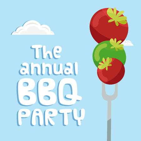 The Annual BBQ Party Tomato On Fork Background Vector Image Vettoriali