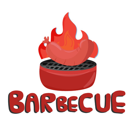 Barbecue Grilled Sausage White Background Vector Image