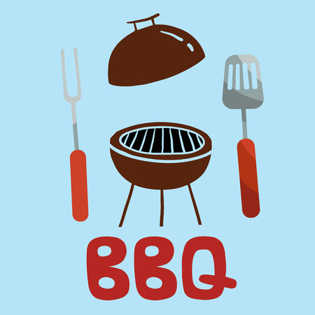 BBQ Turner Fork Grill Background Vector Image Illustration